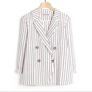 Anthro Dolan Anna Double Breasted Striped Blazer